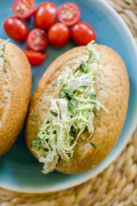 Avocado chicken salad uses avocado instead of mayonnaise for a lighter chicken salad with tons of fresh basil. | livinglou.com