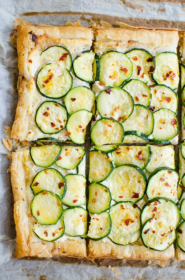A simple zucchini tart made with puff pastry, ricotta, lemon and chili flakes.   livinglou.com