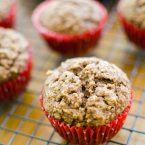 Whole wheat applesauce muffins using unsweetened applesauce for a healthy fall treat!   livinglou.com