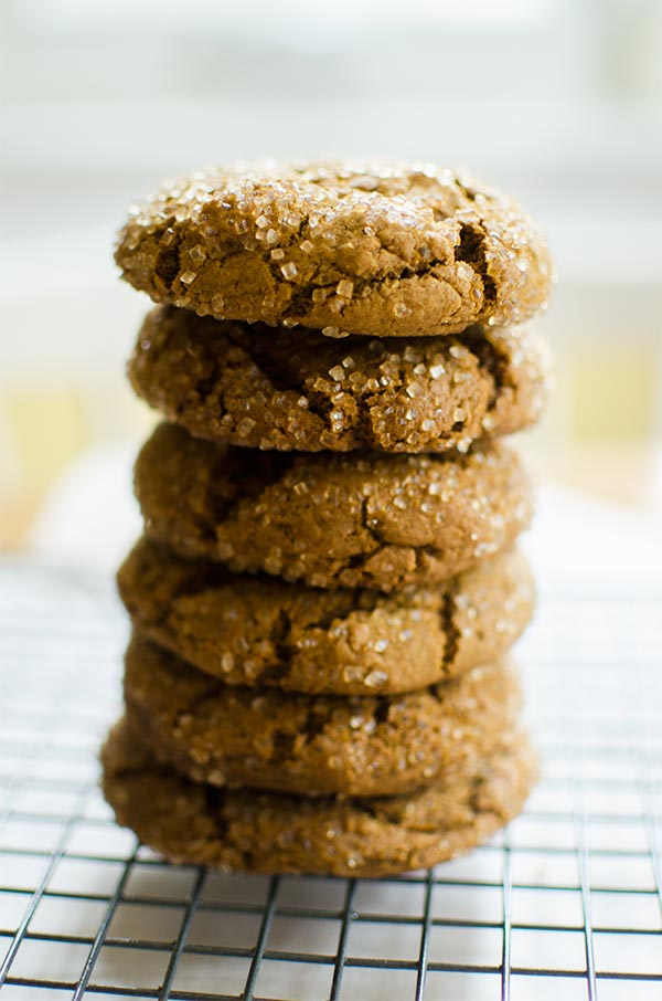 Chewy ginger molasses cookies made with egg whites for a perfectly cracked and crisp outside and chewy middle. | livinglou.com
