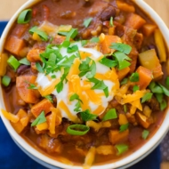 Hearty vegetarian chili with black beans, sweet potatoes, carrots, zucchini and mushrooms. | livinglou.com