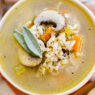 Take those Thanksgiving leftovers to the next level with this leftover turkey and wild rice soup with mushrooms, carrots and sage, | livinglou.com