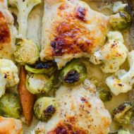 One-pan chicken with cauliflower, brussels sprouts and carrots is the perfect weeknight meal. | livinglou.com