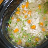 Make a budget-friendly and simple slow cooker chicken noodle soup for a healthy dinner. | livinglou.com