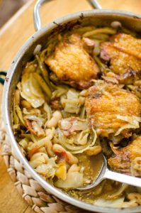 One pan braised chicken with white beans and cabbage.   livinglou.com