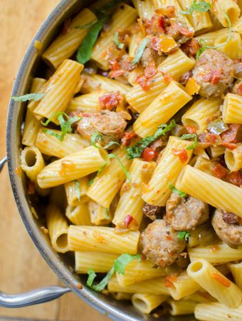 5-Ingredient Sausage and Sweet Pepper Pasta