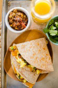 Quick Mexican-inspired breakfast quesadilla recipe.   livinglou.com