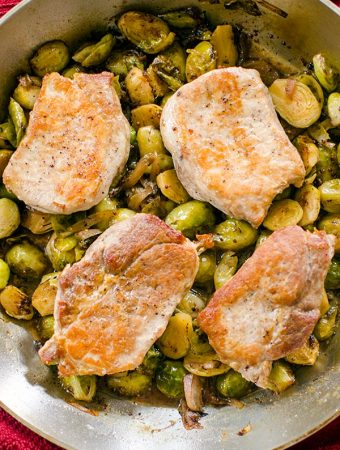One-Pan Pork with Brussels Sprouts