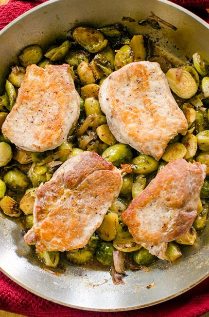 A quick dinner, this recipe for one-pan pork chops and Brussels sprouts is an easy dinner for the whole family. | livinglou.com