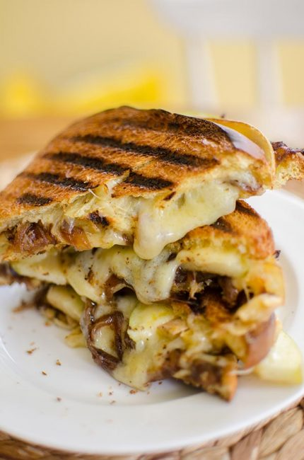 A gooey grilled cheese sandwich made with caramelized onions, green apple and horseradish. | livinglou.com