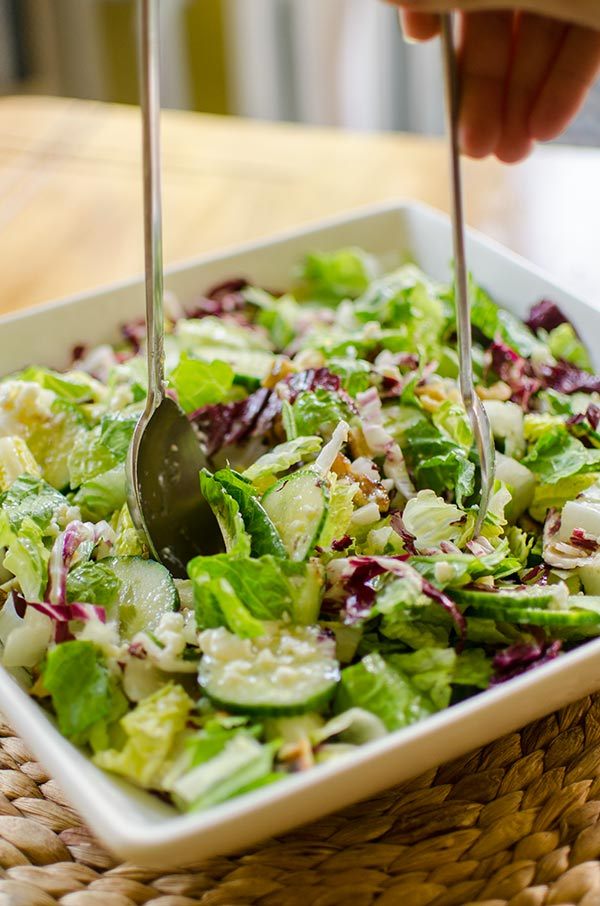 Chopped salad with romaine, radicchio, cucumber, walnuts and a light blue cheese vinaigrette. | livinglou.com