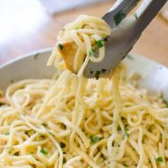 A quick dinner recipe for pasta with chicken and fresh herbs. | livinglou.com