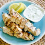 An authentic recipe for juicy Greek chicken souvlaki with garlic and lemon juice. | livinglou.com