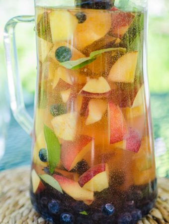 Peach Sangria with Blueberries, Basil and Rose