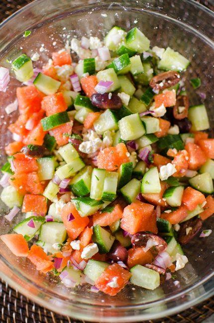 Greek watermelon feta salad is a refreshing summer salad with a lime vinaigrette and fresh mint.   livinglou.com