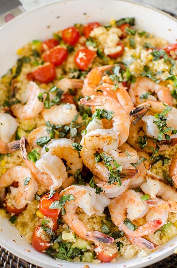 One-pot couscous with shrimp, corn and zucchini. | livinglou.com