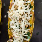 Farro, kale and sausage come together perfectly in this hearty stuffed delicata squash, topped with Canadian Le Gré des Champs cheese. | livinglou.com
