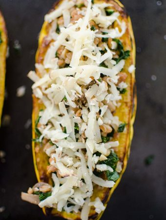 Kale and Farro Stuffed Delicata Squash