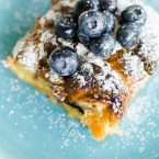 Croissant baked french toast made with Bauli chocolate flavour croissants. | livinglou.com