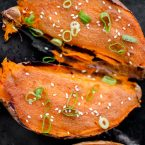 Miso roasted sweet potatoes with sesame oil. | livinglou.com