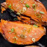 Miso roasted sweet potatoes with sesame oil. | livinglou.com