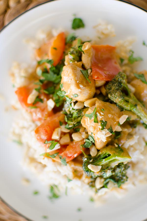 Peanut chicken stir fry living lou a quick dinner recipe for peanut chicken stir fry with a creamy coconut peanut sauce forumfinder Choice Image