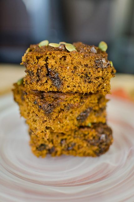 Whole wheat pumpkin chocolate chip bars are so light and fluffy you won't even believe they are made with whole wheat flour! | livinglou.com