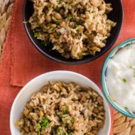 A take on the Middle Eastern dish mujaddara with brown rice, lentils and onions. | livinglou.com