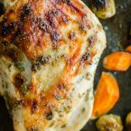One pan roast turkey breast with Brussels sprouts and carrots is the perfect Thanksgiving dinner for a small crowd. | livinglou.com