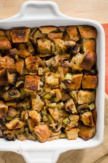 Small batch vegetarian stuffing with mushrooms is the perfect simple stuffing recipe to make for a small Thanksgiving gathering. | livinglou.com