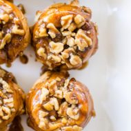 Use store-bought croissants for a simple hack for gooey cinnamon buns with a sticky, walnut topping. | livinglou.com
