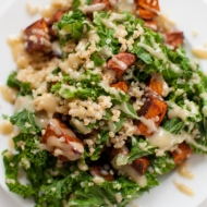 Sweet Potato, Kale and Quinoa Salad with Tahini Dressing
