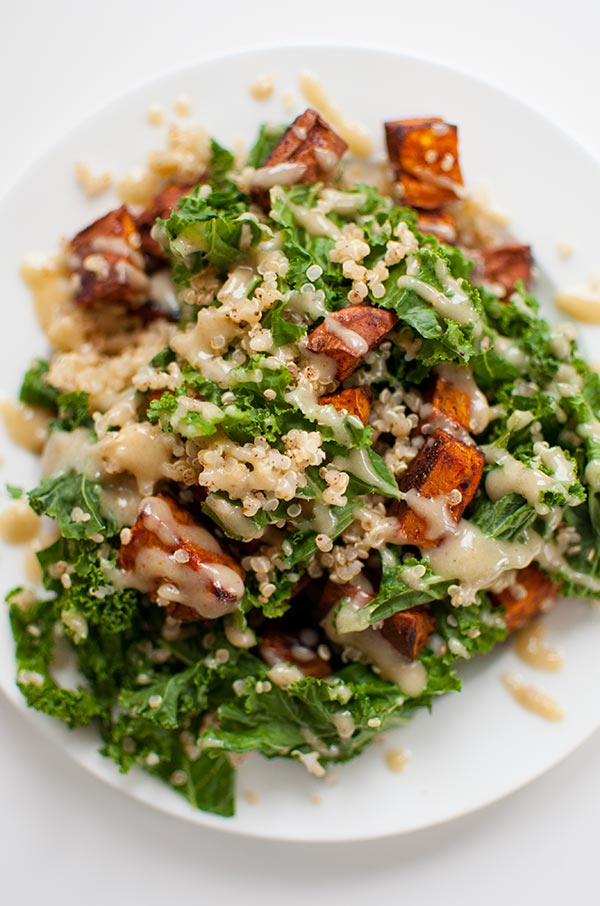 Sweet potato, kale and quinoa salad with tahini dressing is the perfect healthy winter salad. | livinglou.com