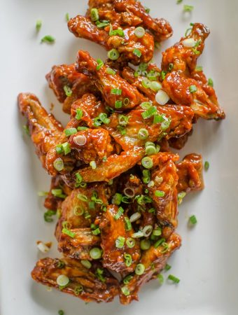 Korean-inspired chicken wings baked in the oven with a gochujang sauce. | livinglou.com