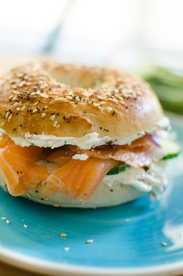 Make the best bagel and cream cheese at home with a simple recipe for cream cheese with scallions and capers--the perfect addition to smoked salmon. | livinglou.com
