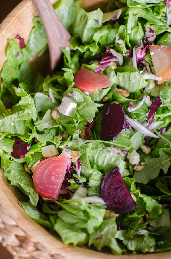 Roasted beet, radicchio and feta salad is perfect with a simple balsamic vinaigrette. | livinglou.com