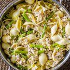 Chicken, asparagus and lemon pasta is a quick spring dinner recipe. | livinglou.com
