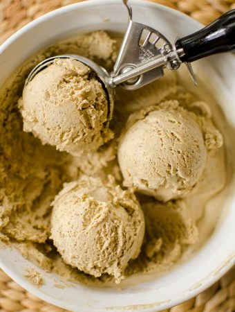 Homemade coffee ice cream is perfect creamy and the perfect summer desert with a simple custard base. | livinglou.com