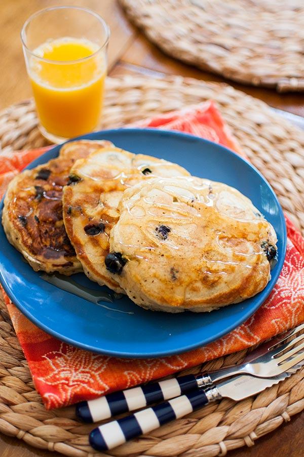 Blueberry lemon pancakes are the perfect summer breakfast.   livinglou.com