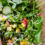 Charred corn and arugula salad with peaches is the perfect bright summer salad with basil and feta. | livinglou.com