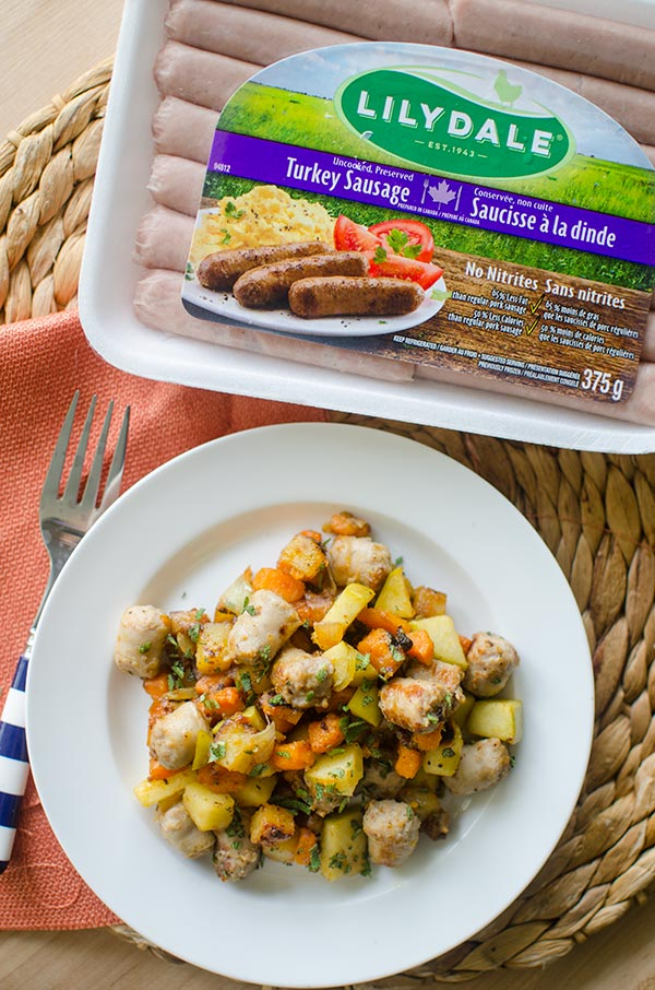 A simple, fall-inspired breakfast celebrates the flavours of the season with Lilydale Turkey Breakfast Sausages, apples, maple, sage and sweet potatoes. | livinglou.com