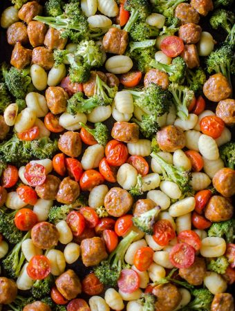 Sheet Pan Oven Baked Gnocchi with Sausage and Vegetables