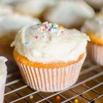 The easiest homemade cupcakes in the world with simple vanilla frosting.   livinglou.com