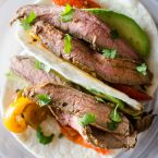 Flank steak fajitas with avocado and bell peppers. livinglou.com