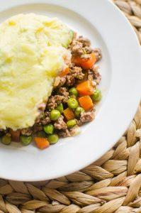 Piece of lamb shepherd's pie on plate