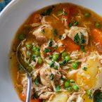 Bowl of pressure cooker chicken stew.