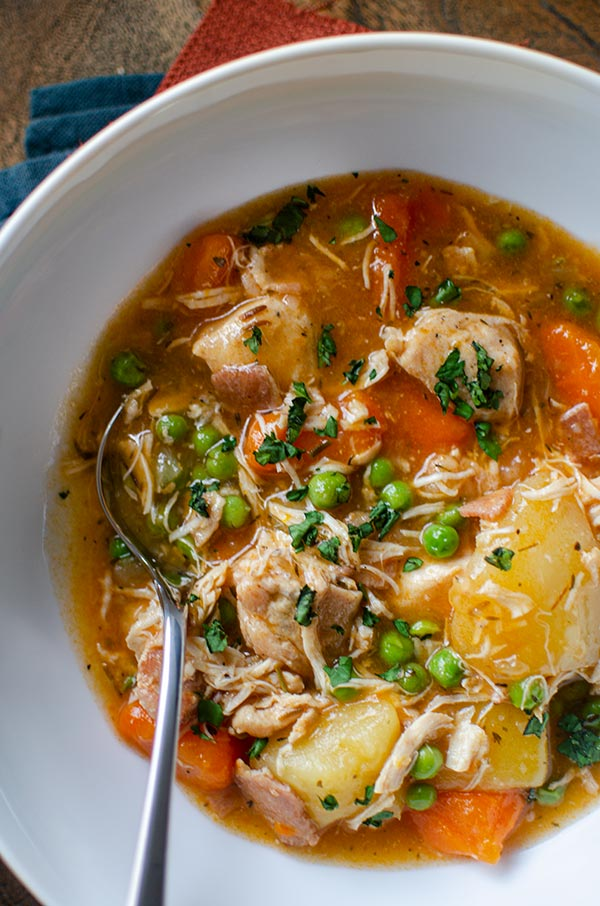 Bowl of pressure cooker chicken stew.