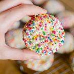 Hand holding sugar cookie rolled in sprinkles