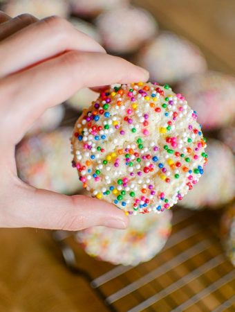 Hand holding sugar cookie rolled in sprinkles
