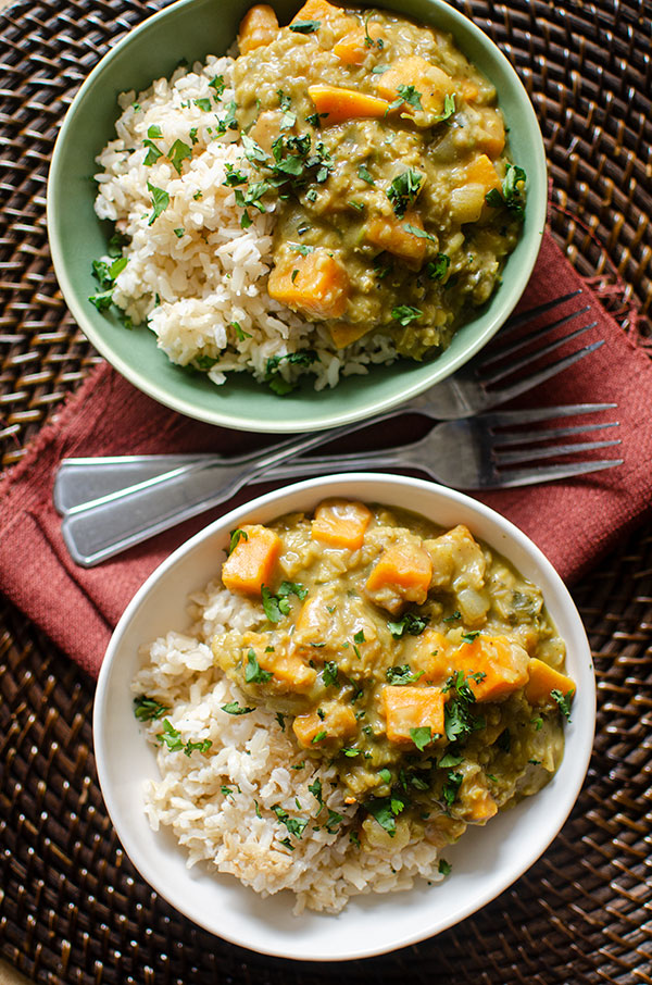 Two bowls of sweet potato and lentil curry